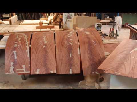Crotch mahogany and cocobolo veneer table