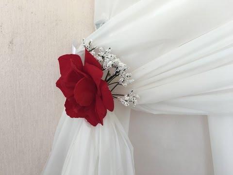 DIY Dollar Tree   Red Rose Curtain Cuffs