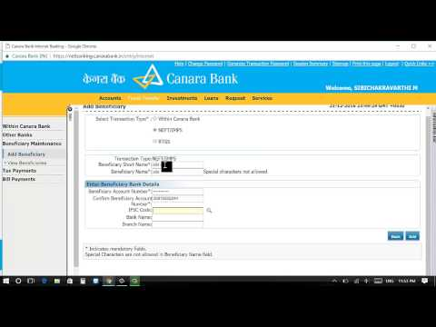 How to add beneficiary in CANARA internet banking