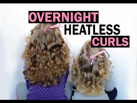 Overnight heatless curls - no heat curls - little girl hair