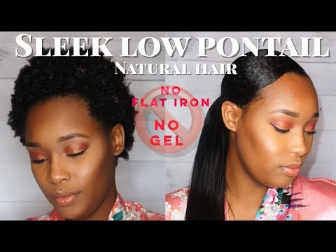 How to | smooth down natural hair | low sleek ponytail | short natural hairstyle