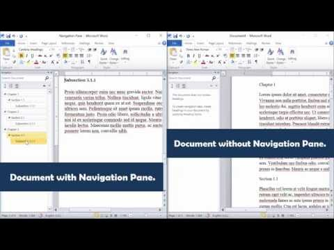 Create a navigation pane in Word 2010 [Word 2013, Word 2016]