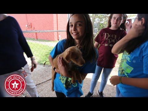 San Jacinto Elementary Student Council students donate vital supplies to local animal shelters.