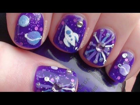 Retro Space Nail Art on Short Nails   |  ArcadiaNailArt
