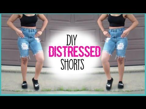 DIY Kylie Jenner Inspired Distressed Shorts| Jasmyn