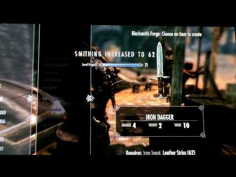Skyrim Smithing skill trick to level 100! awesome!