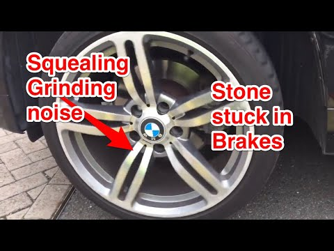 GRINDING SQUEALING FROM CAR BRAKES OR WHEELS, STONE STUCK BETWEEN BRAKE DISC AND BACKPLATE, REPAIR