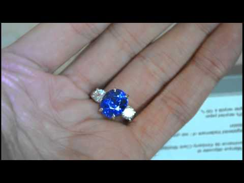 Vivid Blue Sapphire 3 Stone Diamond Engagement Ring - Best Color , GIA , Huge