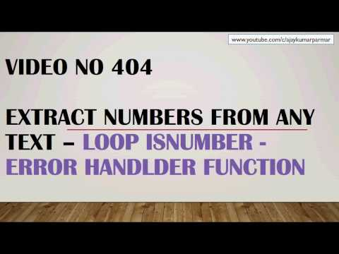 Learn MS Excel - Video 404- VBA - Extract numbers from string - Function with error handller