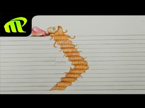 3D Paper Illusion Beautiful Girl With Long Hairs Drawing | Trick Art