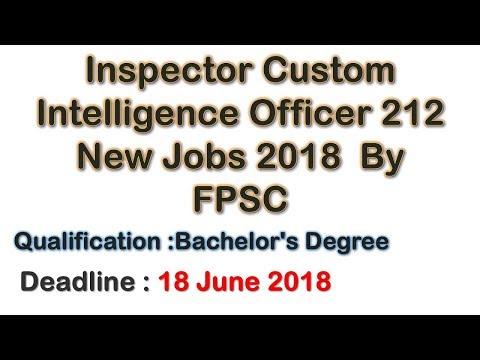 Inspector Custom Intelligence Officer 212 New Jobs 2018 By FPSC