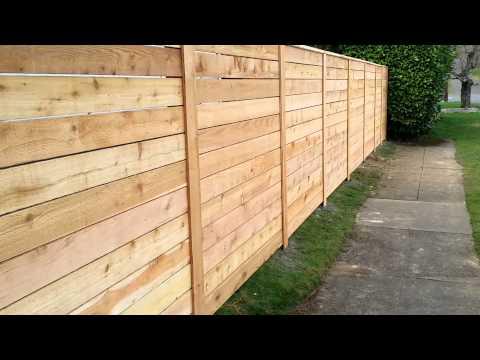 Horizontal cedar fence