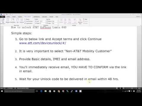 How to unlock AT&T ATT Microsoft Nokia GoPhone Lumia 640