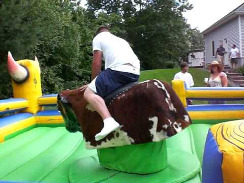 Funny Mechanical bull riding