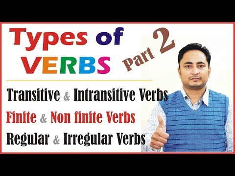 Types of Verbs: Regular and Irregular verbs Finite and Nonfinite verbs Transitive Intransitive verbs