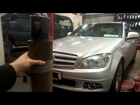 How to replace oil filter, fuel filter & air filter in a Mercedes C220 CDI