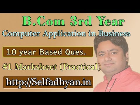 #1 Mark Sheet Based Exam Question - BCOM 3rd Year - Computer Application in Business with PDF