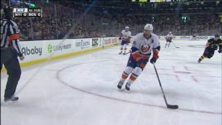 Gionta crushed by Krug after flubbing a check