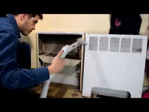 Cleaning of a fin-type heating radiator