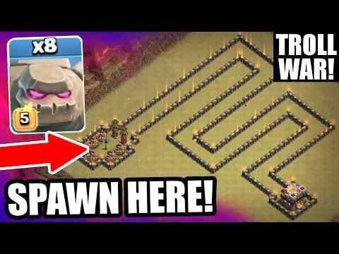 Clash Of Clans - TROLL WARS HAS BEGUN! - INSANE ALL MAX GOLEM ARMY!