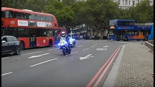 *RARE* X4 CONVOY of Metropolitan Police bikes + ARMED police responses and CONVOYS!