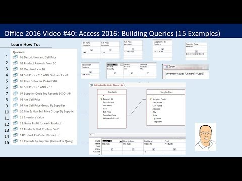 Office 2016 Video #40: Access 2016: Building Queries in Access (15 Examples)