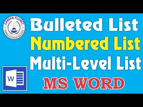 MS Word- Bulleted List, Numbered List, Multilevel List in Hindi| All Types of List Design in Word
