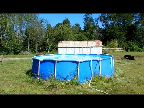 Final cleanup and packing up of our inexpensive Intex swimming pool.