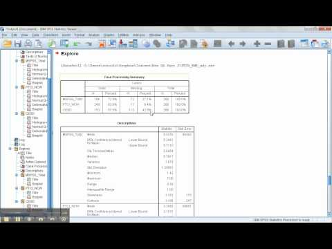 Data Screening in SPSS-Part 2: Explore and Missing data