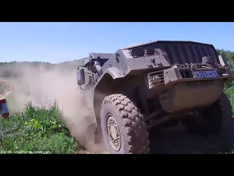 Russian Military Trucks and Military vehicles in action in military exercise