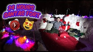 (OMG!) 24 HOUR OVERNIGHT SANTAS SNOW FORT IGLOO | CRAZY CHRISTMAS OVERNIGHT IN NORTH POLE WITH SANTA