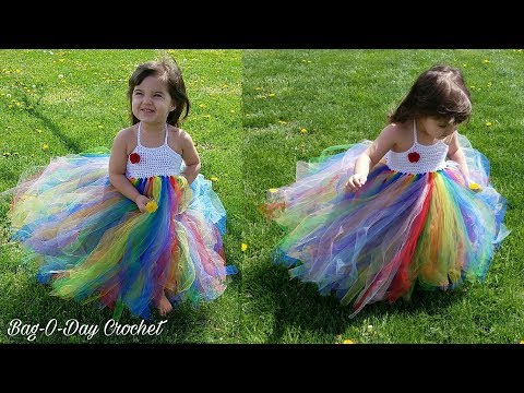 How To Crochet Rainbow Princess no sew Tulle Baby Toddler Dress Crochet TUTORIAL #479