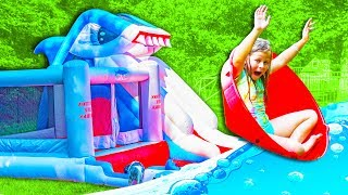 SHARK ATTACK Inflateable Bounce House Assistant Contest with Shark and the Gorilla Funny Kids Video