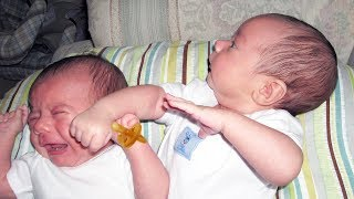 Twin Babies Fight Over Pacifier - Funny Baby Videos