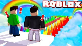 ROBLOX RAINBOW OBBY TROLLS my LITTLE BROTHER!
