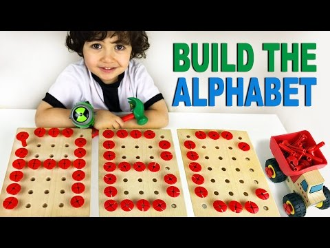 Let's build the ABC (Alphabet) w/ hammer & nails. Educational for children. Let's Play Kids.