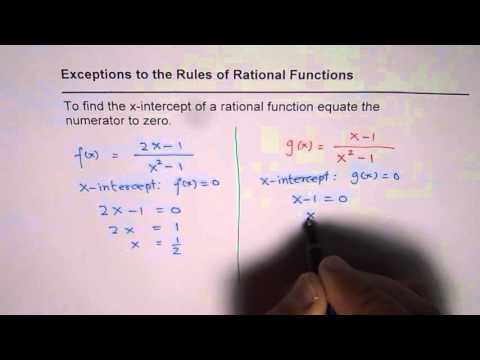 In Rational Functions Equate Numerator to Zero to Find X Intercept