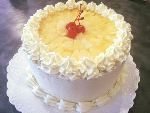 Pineapple Chiffon Cake With  Whipped Cream Icing