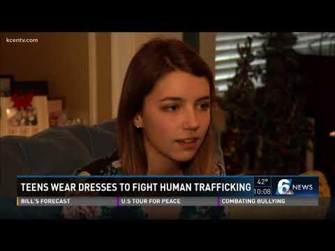 Teens wear dresses to fight human trafficking