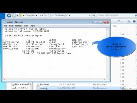 How to save directory listing to a text file in MS-DOS