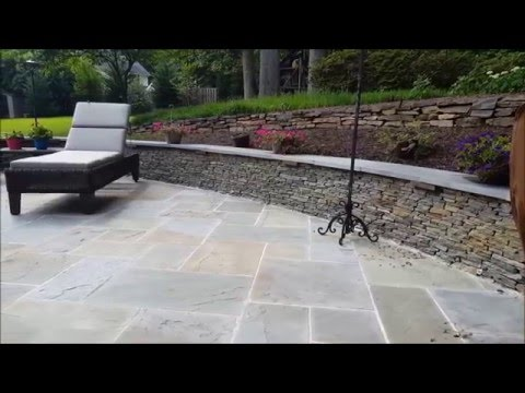 Flagstone Patio, Seating Walls, and Fire Pit In Burke, VA