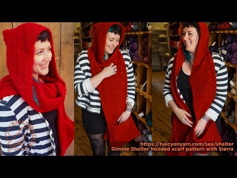 Gimme Shelter knitting pattern - hooded scarf with pockets