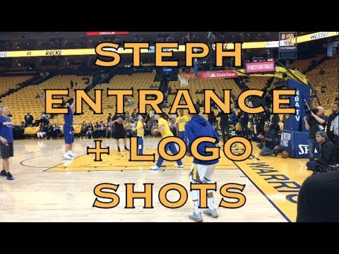 Steph Curry arena entrance, corner 3 and logo shots from Oracle Arena, pregame 2018 WCF G6