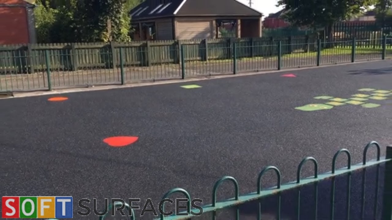 Black Wetpour Playground with Graphics in Canterbury, Kent | Wet Pour Installation