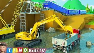 Excavator Crawler Crane and Construction Trucks for Kids | Railway Bridge Repair