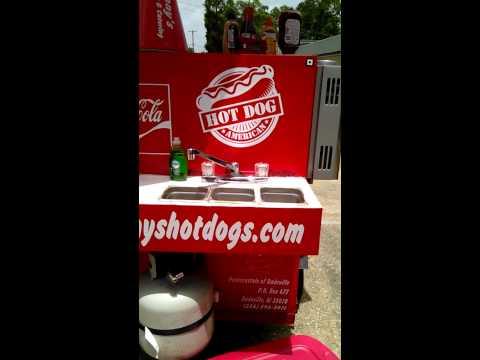 Sony's walk around - homemade hot dog cart.