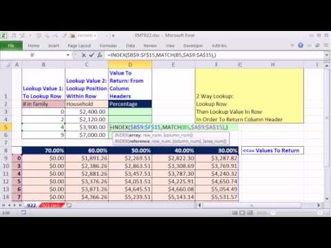 Excel Magic Trick 922: Lookup Row, Then Lookup Value In Row & Return Column Header: Two Way Lookup