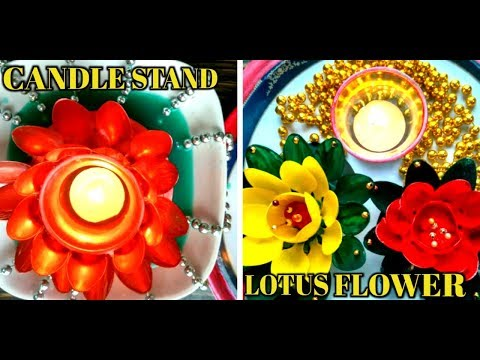 Candle Stand | Lotus flower || Floating Flowers| diya Decoratio | designer diya | use of CD
