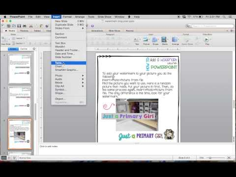 Adding Watermarks in Powerpoint using a Macbook