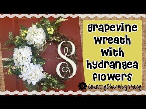 Grapevine Wreath with Hydrangea Flowers